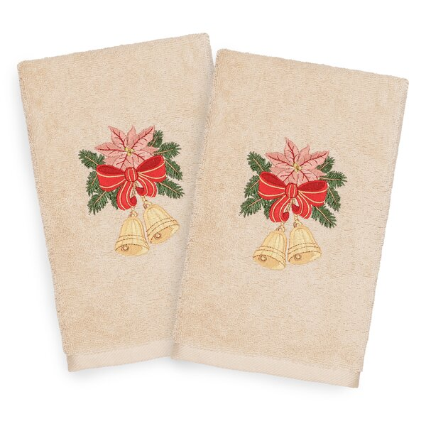 Beam Bells Embroidered Luxury 100% Turkish Cotton Hand Towel (Set of 2) by The Holiday Aisle